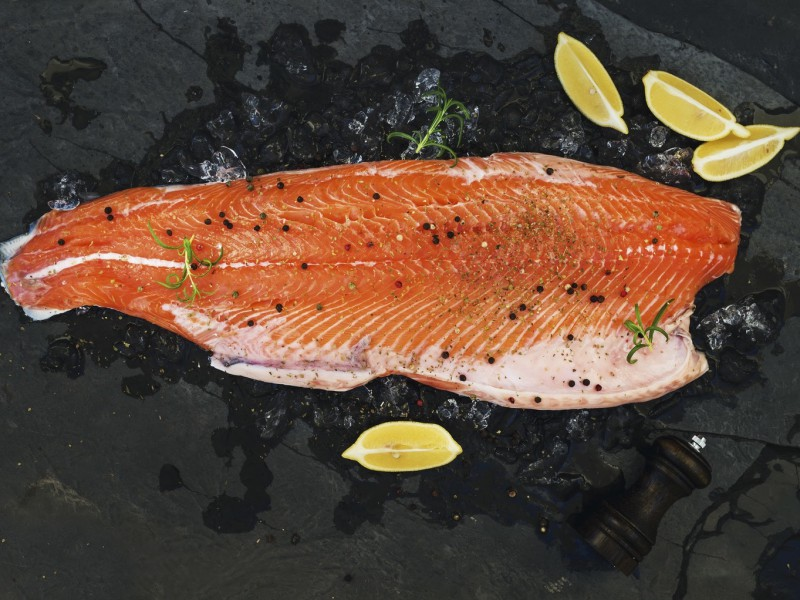 Raw salmon filet with lemon and rosemary on chipped ice over dark stone backdrop, top view